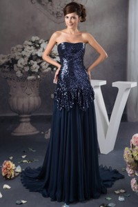 Sequins Decorate Bodice Court Train Mothers Dress In Navy Blue