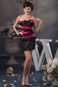 Hot Pink and Black Mini Mother of the Groom Dress with Flounce