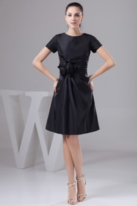 Ruches And Flowers Accent Black Mothers Dress For Weddings