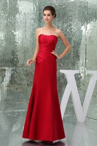 Mermaid Red Sweetheart Ruched Mother Of The Groom Dress