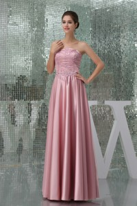 Empire Strapless Beaded Floor-length Mother of the Bride Dress Pink