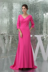 V-neck 3/4 Sleeves Hot Pink Mother Bride Dress with Brush Train