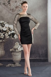 Black Scoop Column Short Mother Of The Bride Dress With Long Sleeves