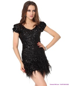 Exclusive Black Mini Length Mother Of The Bride Dress With Sequins And Macrame