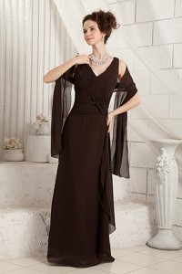 Brown Column V-neck Floor-length Chiffon Ruch Mother Of The Bride Dress