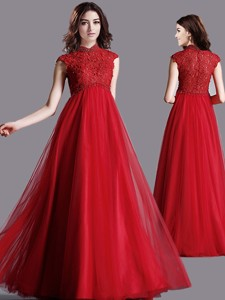 Classical High Neck Cap Sleeves Lace Mother Of The Bride Dress In Red