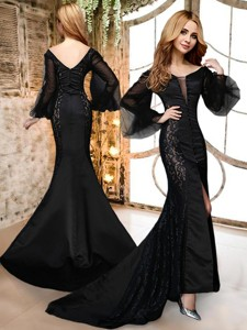 Mermaid Deep V Neckline Long Sleeves Black Mother Of The Bride Dress In Satin And Lace
