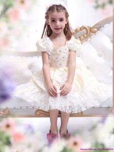 Gorgeous Champagne Flower Girl Dress with Hand Made Flower and Lace