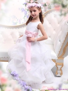 Scoop White Flower Girl Dress with Sash and Ruffles