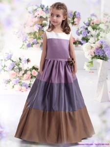 Pretty Multi Color Scoop Flower Girl Dress With Bowknot