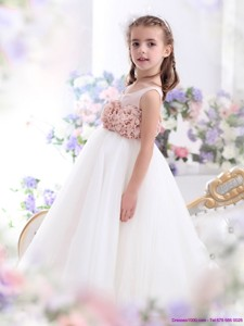 Pretty Scoop Flower Girl Dress With Hand Made Flowers