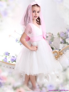 Beautiful White Flower Girl Dress with Baby Pink Waistband and Hand Made Flower