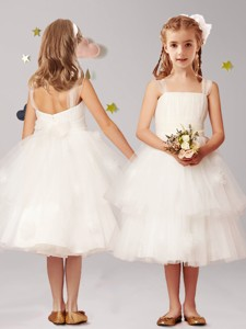 Simple Straps Applique and Ruffled Layers Flower Girl Dress in White