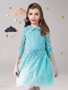 Unique Scoop Laced and Sashed Flower Girl Dress in Aqua Blue