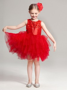 2017 Luxurious Scoop Red Flower Girl Dress with Appliques and Ruffles