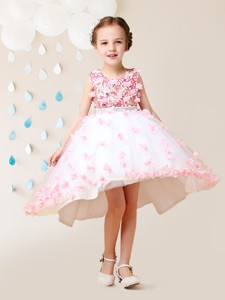 Elegant Applique Decorated Skirt White and Pink Flower Girl Dress in High Low