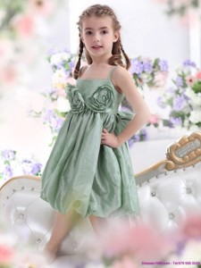 Unique Spaghetti Straps Flower Girl Dress with Waistband and Hand Made Flower