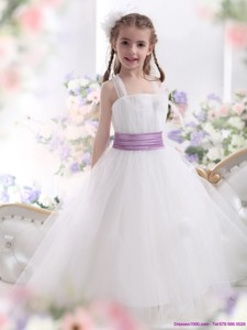 New Style White Little Girl Pageant Dress With Lilac Sash