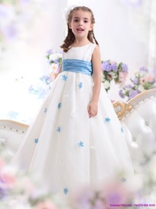 White Scoop Flower Girl Dress with Baby Blue Waistband and Appliques