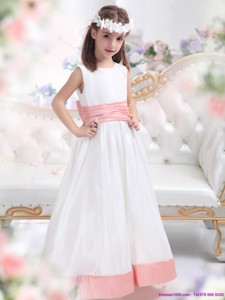 White Scoop Flower Girl Dress With Pink Waistband