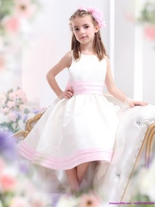 White Scoop Flower Girl Dress with Light Pink Bowknot