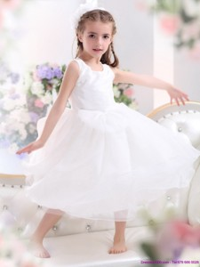 Popular Scoop White Bowknot A Line Flower Girl Dress