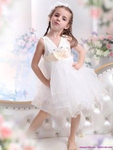 Beading Ruffled White Flower Girl Dress With Bowknot