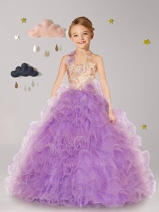 Inexpensive Halter Top Organza Flower Girl Dress with Hand Made Flowers and Ruffles