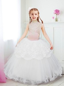 Fashionable Halter Top Flower Girl Dress with Lace and Beading