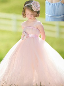 Pretty Straps Baby Blue Flower Girl Dress with Hand Made Flower
