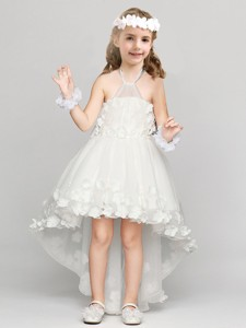 Exclusive High Low Halter Top Flower Girl Dress with Appliques and Bowknot