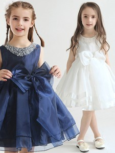 2017 New Scoop Beaded Top and Bowknot Flower Girl Dress in Organza