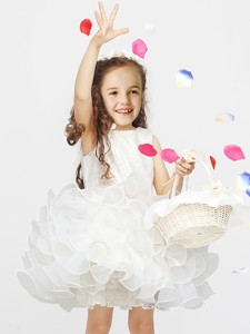 New Arrivals Organza Short Flower Girl Dress with Lace and Ruffles