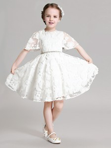 Best Selling Applique and Beaded Flower Girl Dress with Short Sleeves