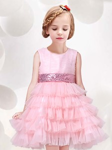 Modest Ruffled Layers Flower Girl Dress with Sequined Decorated Waist