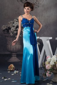 Two-toned Blue Floor-length Mother of the Groom Dress with Beading