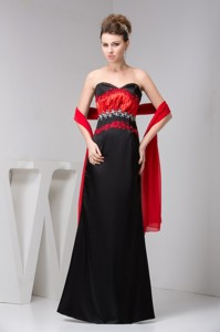 Classic Red And Black Floor-length Mothers Dress For Weddings