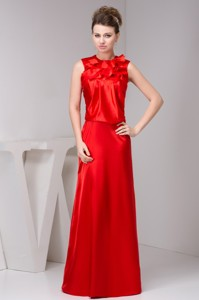 Layered High-neck Floor-length Mothers Dress For Weddings In Red