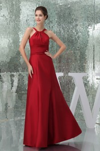 Ruched High-Neck Floor-length Mother Bride Dress in Wine Red