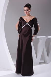 V-neck 3/4 Sleeves Beading Empire Long Mother Of The Bride Dress