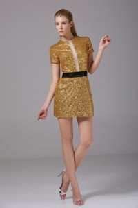 Short Scoop Short Sleeves Sequin Mother Of The Bride Dress