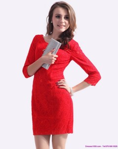 New Style Red Mini Length Mother Of The Bride Dress With Lace