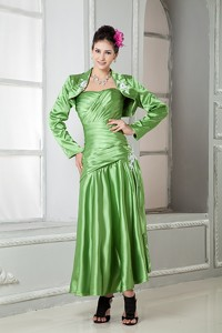 Spring Green Sweetheart Elastic Woven Satin Appliques Mother Of The Bride Dress