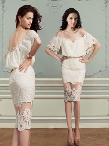 Elegant Off The Shoulder Short Sleeves Lace Mother Of The Bride Dress In Champagne