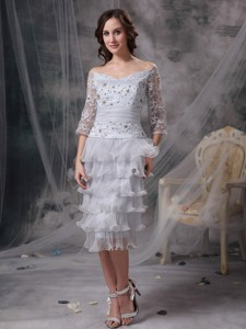 Grey Column / Sheath Off The Shoulder Tea-length Organza Beading Mother Of The Bride Dress