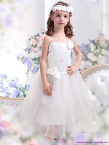 White Spaghetti Straps Flower Girl Dress with Hand Made Flower and Appliques
