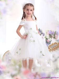 Gorgeous Spaghetti Straps White Flower Girl Dress With Hand Made Flowers