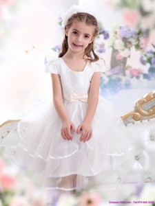Scoop White Little Girl Pageant Dress With Bowknot And Ruffles