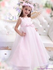 Scoop Appliques And Bownot Pageant Dress For Girl In Baby Pink