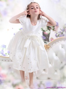 White Scoop Flower Girl Dress With Bowknot And Cap Sleeves